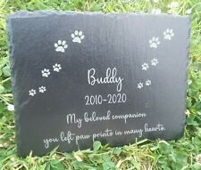 Memorial Plaque Large Pet Cat Dog Slate Stone Paw Grave Marker Personalised