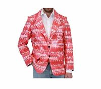 Adult Red Holiday Ugly Christmas Sequin Humping Reindeer Blazer Suit Jacket