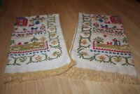 Fieldcrest Dutch Farm Alphabet Print Bath Towel Fringe Trim Bath Linen Set of 2