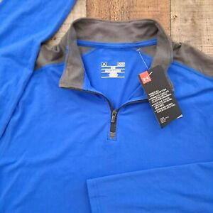 Under Armour Mens Charged Cotton 1/4 Zip Long Sleeve Blue Large Activewear Shirt
