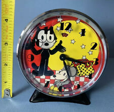 Vintage 1989 Felix The Cat Wind Up Animated Alarm Clock Works 80s Clean