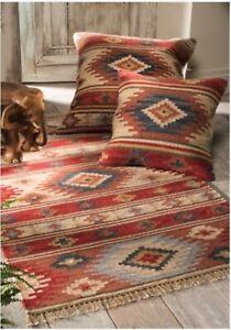 Kashi Kilim Cushion Covers Multi Colour Wool Cotton Hand made Fair Trade