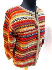 Millar Ireland Cozy 100% Wool Cardigan Sweater Brown Orange Blue Leather Button