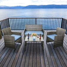 Outdoor Patio Sofa 4PCS Garden Rattan Wicker Sofa Furniture Sets W/ Blue Cushion