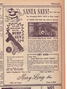 1956 newspaper ad for Mattel Burp Gun, Daisy Cowboy King Shooting Outfit