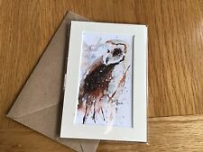 ORIGINAL WATERCOLOUR. Painting gift. Mounted WATERCOLOUR card. Owl
