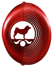 Shiba Inu Dog RED Metal Swirly Sphere Wind Spinner *NEW*
