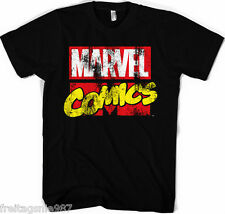 MARVEL LOGO Retro Distressed  T-Shirt  camiseta cotton officially licensed