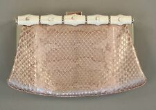 Ralph Lauren Purple Label Pink Python Mother of Pearl Clutch Bag New $2950