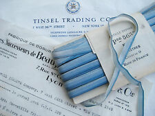 3Yds Vintage French Blue Ombre Rayon Ribbon Ribbonwork Flowers  1/4""