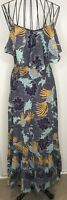 Pretty BIBA Purple Blue Bird Patterned Spotty Cotton Long Maxi Dress UK 10