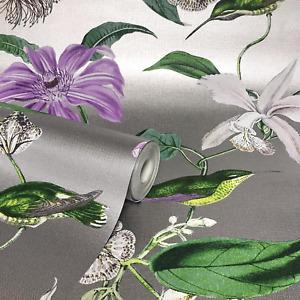 Metallized Tropique Platina Silver & Purple Floral Hummingbird Wallpaper 276595