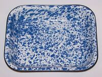 WONDERFUL BLUE & WHITE ENAMELWARE GRANITEWARE 9x11 LASAGNA/ROASTING BAKING PAN