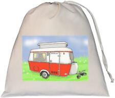 Vintage Pop Top caravan -  Large Natural Cotton Drawstring Bag - Red
