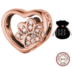 Rose Gold Dog Cat Paw Pet Bracelet Charm Genuine 925 Sterling Silver + GIFT BAG