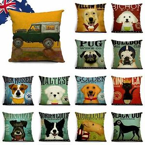45x45cm Linen Pillow Case Cushion Cover Russell Schnauzer Pug Dog Puppy HPICA92