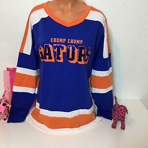 PINK Victorias Secret Bling Chomp Chomp Gators Sweatshirt Size S Orange/Blue