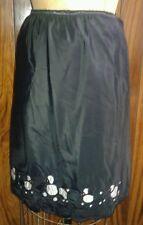 So Cute Vintage 1950's Black Satin Acetate Petticoat Slip Skirt Poodle Cutouts