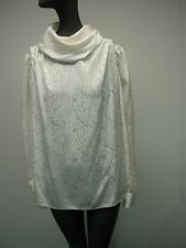 Vtg Marie St John White Silky Long Sleeve Mock Turtleneck Button Back Blouse 4