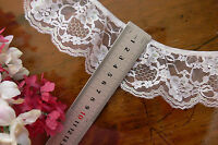 Nylon Rayon Gathered Flower Lace WHITE SPARKLE- 60mm wide - 5 Metre Length GaHg