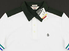 Men's PENGUIN White Green Polo Shirt Medium M NWT NEW Classic Fit Nice!