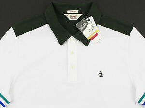 Men's PENGUIN White Green Polo Shirt Small S NWT NEW Classic Fit Nice!