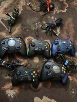 Original Microsoft Xbox Controller Lot of 5 For Parts or Repair