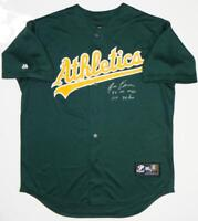 Jose Canseco Autographed Oakland A's Green Majestic Jersey w/ 2 Insc- Beckett