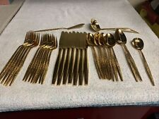 35 Pieces Carlyle Golden Bouquet Gold Electroplate Flatware Silverware