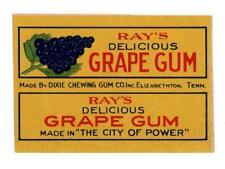 Vintage Gum label Ray's Delicious Grape Gum Dixie Chewing Gum Elizabethton TN