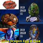 Crystal Lava Dragon Egg Dinosaur Resin Statue Souvenir Collection With Lava Base For Sale