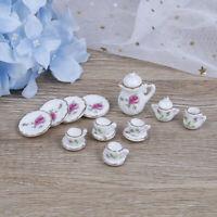 15Pcs Casa de muñecas miniatura vajilla porcelana cerámica café té tazas set