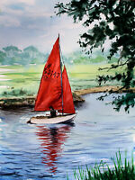Port Meadow Oxford sailing river Thames Isis original watercolour painting