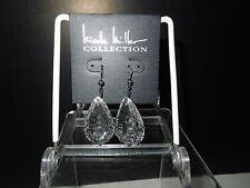 NIP Nicole Miller NM21069 Faceted Glass Teardrop Pierced Earrings w/Chains