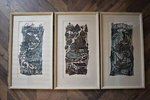 """Originale Lithografien signiert """"Der Strand"""", """"Dorf"""" und """"Hafen"""" Farblithografie"""