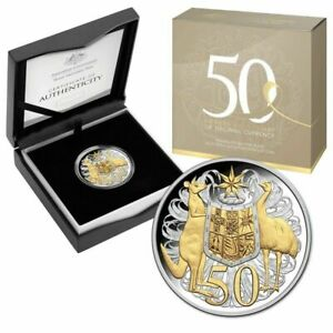2016 50th Anniversary of Decimal Currency 50c Gold Plated Silver Proof Coin.
