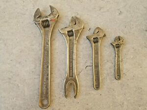 """BAHCO Sweden set of 4 adjustable wrench 4 6 8 & 10"""" Volvo"""