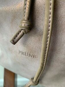 PRUNE. Leather Gray-Bronze Backpack.