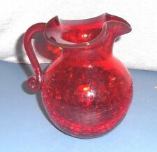RUBY CRACKLE GLASS PITCHER APPLIED RED HANDLE HAND BLOWN w PONTIL MARK