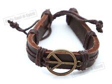 1 peace sign charm Brown Leather Adjustable unisex Bracelet holy modern kabala