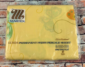 New Vintage Martex Luxor King Flat Bed Sheet Butterflies Pattern Percale Yellow