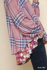 M BLUHEAVEN BY UMGEE BLUE/RED Floral Ruffle Plaid Button Shirt/Blouse/Top BHCS