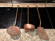 Vintage Copper And Brass Hanging Utensil Set.