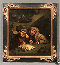 18th Century Flemish Oil Painting After Quentin Matsys Money Lender and His Wife