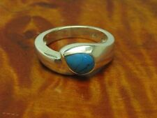 925 Sterling Silver Ring with Turquoise Decorations/Real Silver/Rg 54,5/5,8g