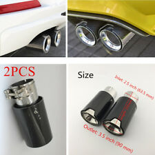 2PCS Carbon Fiber Glossy Black Exhaust End Tips For BMW 2 Series F22 F23 Coupe