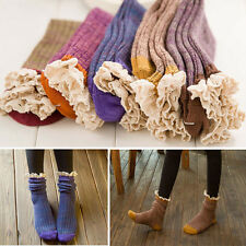 5 Pairs/lot 5 Colors Women Girl Cotton Knit Booties Piles Tube Socks with Lace