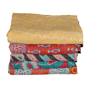 Handmade Kantha Decke Vintage Indisch Tagesdecke Baumwolle Zwei Indische Gudri