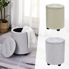 Fabric Storage Ottoman Footstool Button Tufted Seat Removable Top