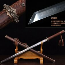 High Quality Pattern Steel Full Tang Chinese Sword Hand Forge Sharp Blade #1022
